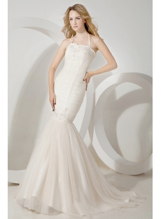 Simple Halter Mermaid Wedding Gown for Spring