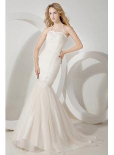 Simple Halter Mermaid Wedding Gown for Spring