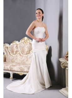 Simple Sheath Inexpensive Wedding Dresses with Train