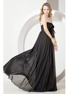 Simple Strapless Black Chiffon Maternity Prom Gown