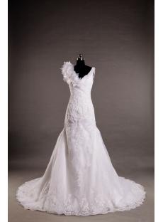 Spring Cheap V-neckline Wedding Dress with Floral