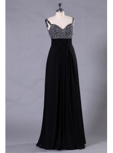 Straps Backless Black Formal Evening Dress for Large Size