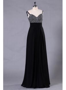 Straps Backless Black Formal Evening Dress for Large Size