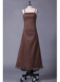 Straps Brown Lace Fancy Plus Size Prom Dress