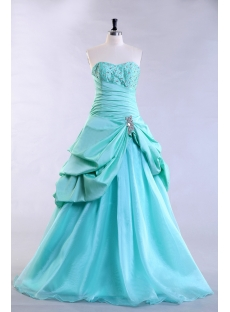 Teal Blue Pretty Plus Size Quince Gown with Corset