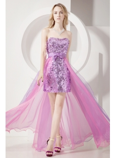 Unique Lilac Sequins Detachable Train Sweet 15 Gown