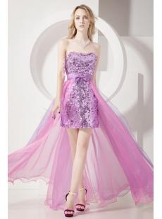 Unique Lilac Sequins Detachable Train Sweet 15 Gown