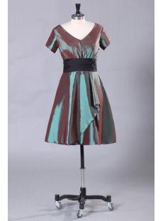 V-Neckline Short Vintage Evening Dress with Short Sleeves