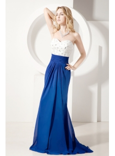 White and Royal Sheath Romantic Formal Evening Gown