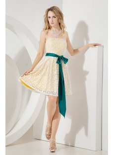 White and Yellow Short Lace Cocktail Dress with Teal Sash