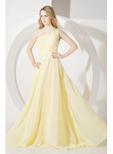 Yellow One Shoulder Plus Size Party Dress