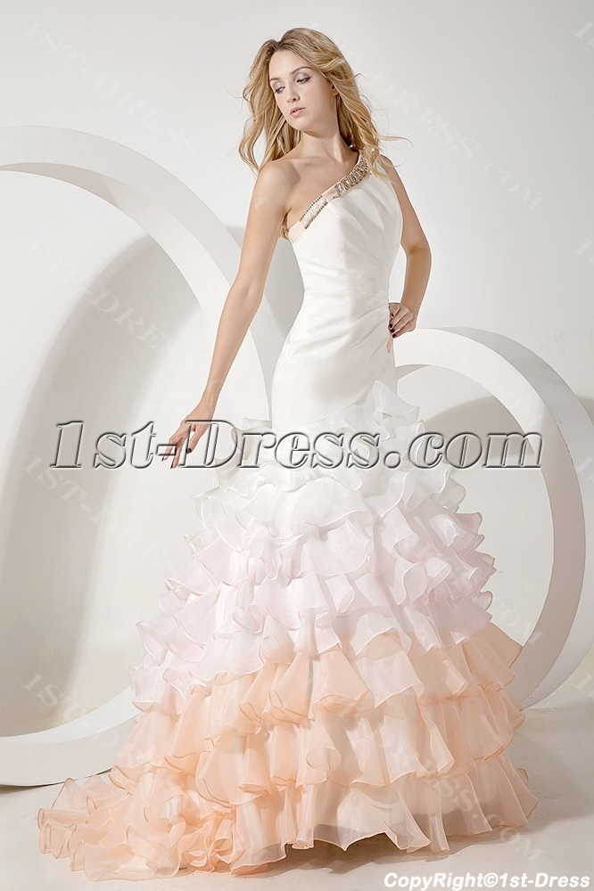 2014 Modern Colorful Mermaid Bridal Gown with One Shoulder:1st-dress.com
