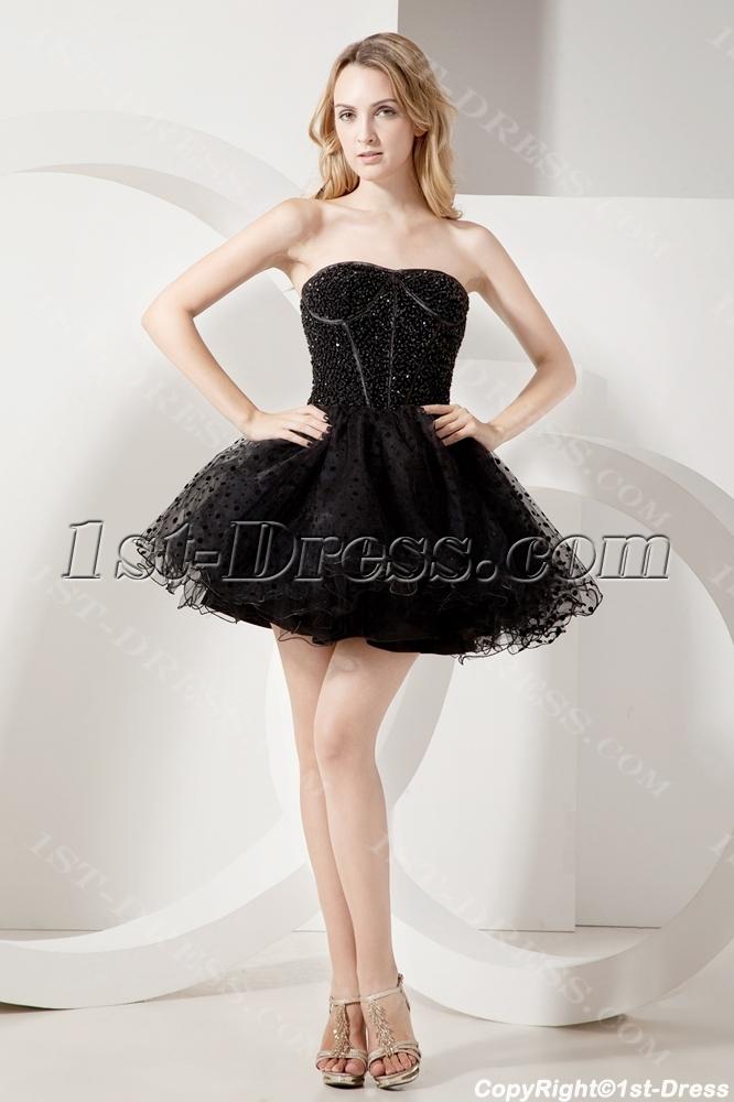 Beaded Black Short Sweet 16 Gown:1st-dress.com
