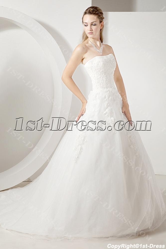 Beautiful Lace Strapless Modest Bridal Gowns:1st-dress.com