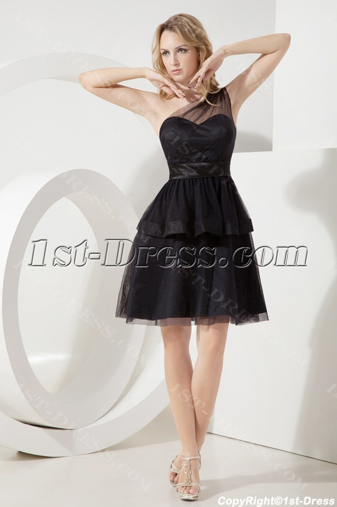 Black One Shoulder Juniors Formal Dresses:1st-dress.com