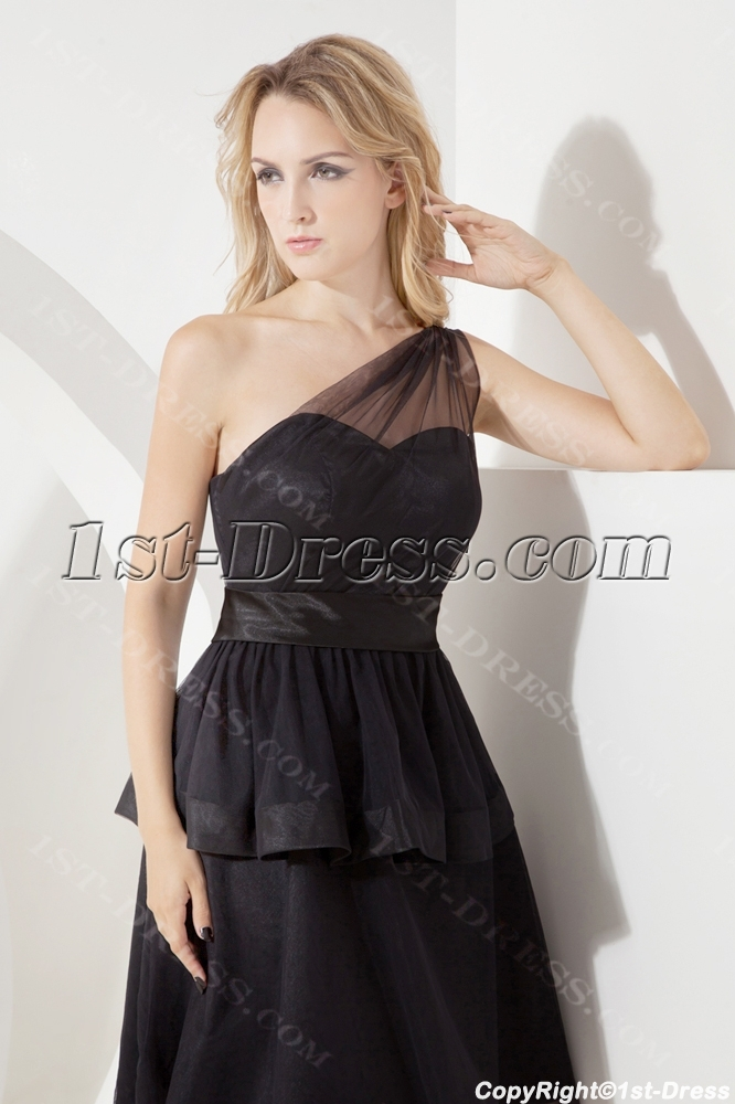 Black One Shoulder Juniors Formal Dresses1st Dress