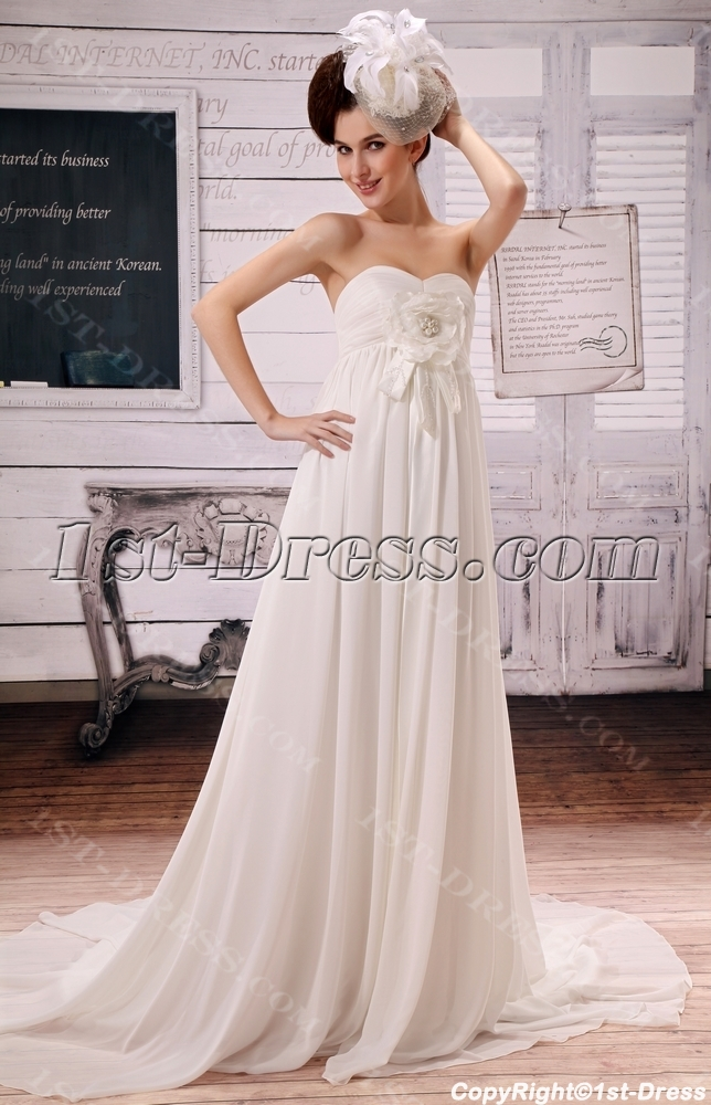 Brilliant Sweetheart Chiffon Pregnant Bridal Dresses