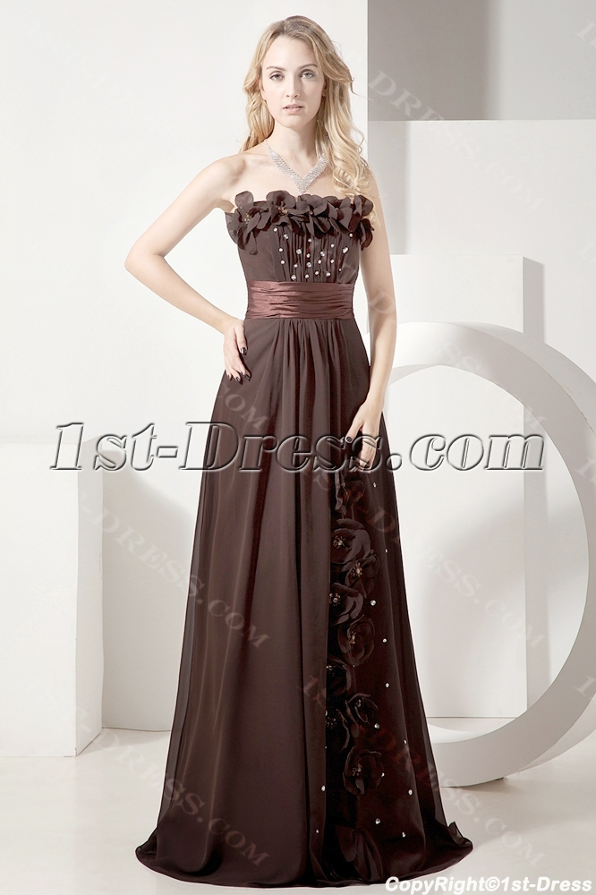 Brown Long Plus Size Mother Of Groom Dress1st Dress