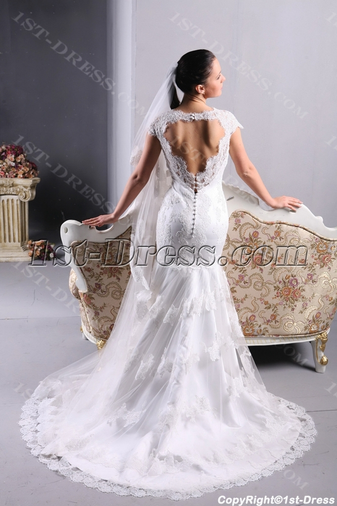 Cap sleeves lace wedding dress with open back 1st for Cap sleeve open back wedding dress