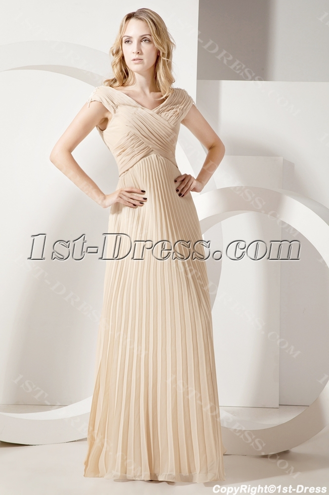 Champagne Pleats Long Mother Of Groom Dress For Full Figure Loading Zoom