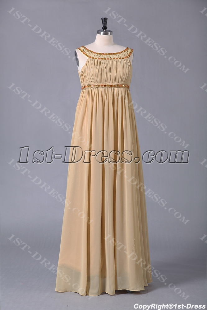 Champagne Scoop Long Special Occasion Plus Size Dresses1st Dress