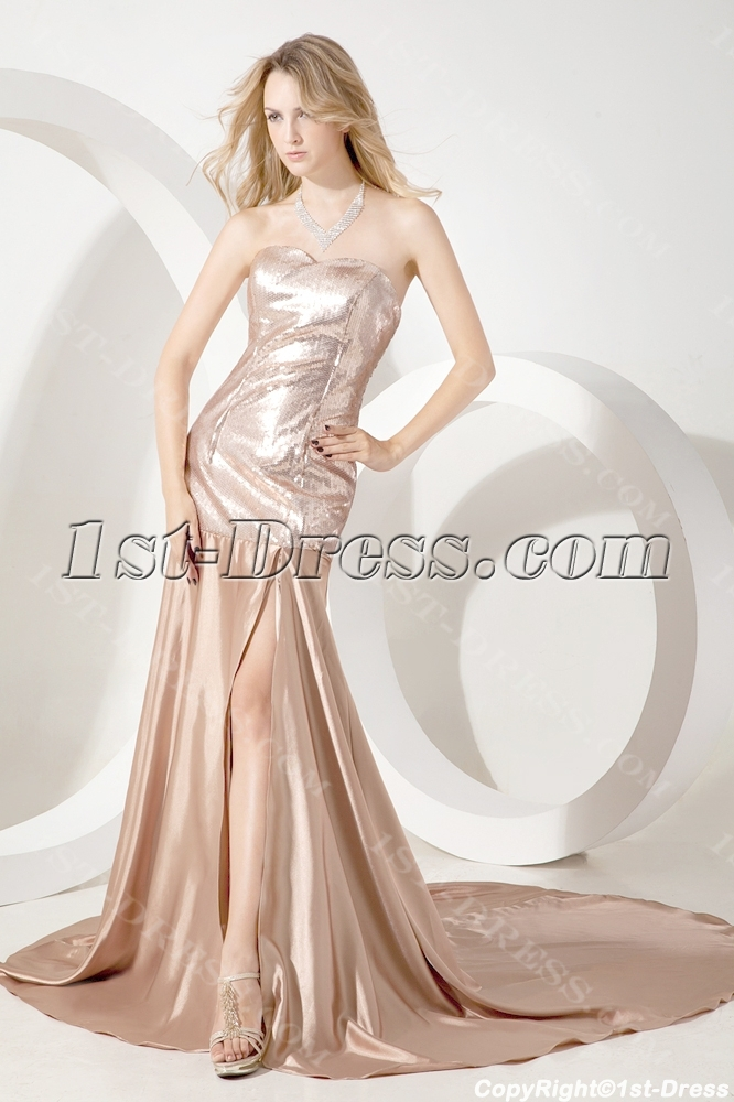 Champagne Simple Elegant Celebrity Dress