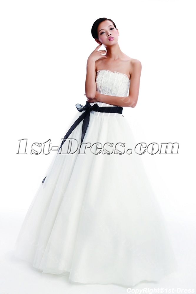 Cheap simple wedding dress with black sash 1st for Simple inexpensive wedding dresses