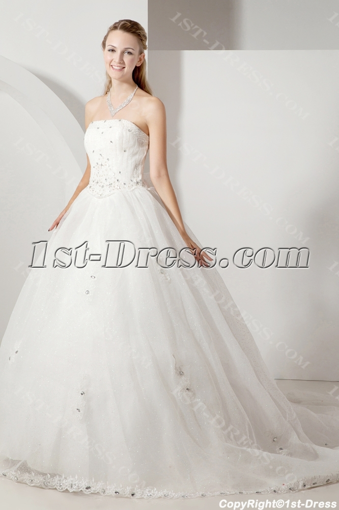 Cheap Strapless Princess Wedding Dress With Corset1st Dress