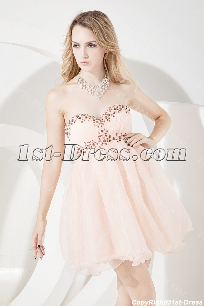 Coral Short Sweet 16 Dresses Cheap:1st-dress.com