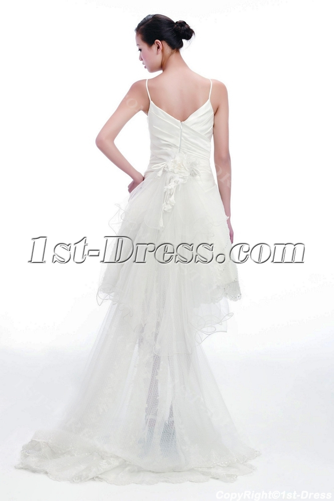 Cute short bridal gowns with detachable train 1st for Short wedding dress with removable train