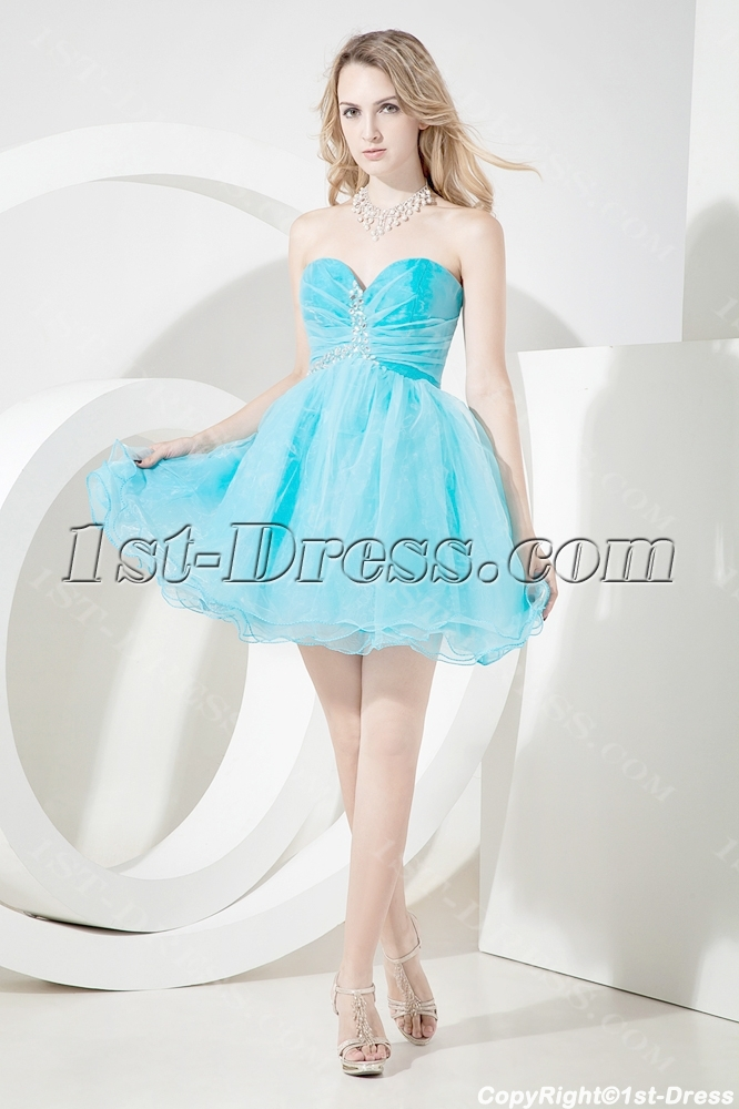 Cute Short Sweet 16 Dresses Aqua Blue:1st-dress.com
