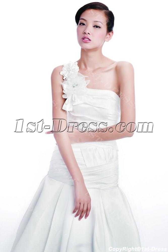 Fall One Shoulder Mermaid Wedding Dresses 1st