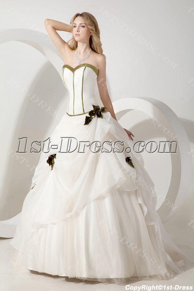 Green Beautiful Bridal Gown with Sweetheart