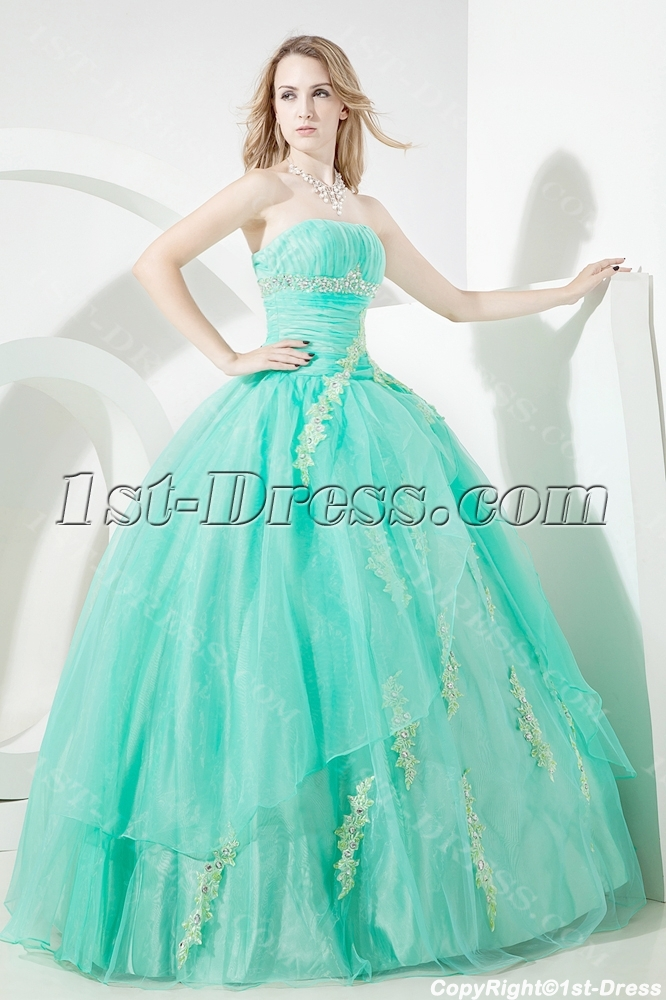 Green Glamorous Puffy Quinceanera Dress 2012 1st Dress Com