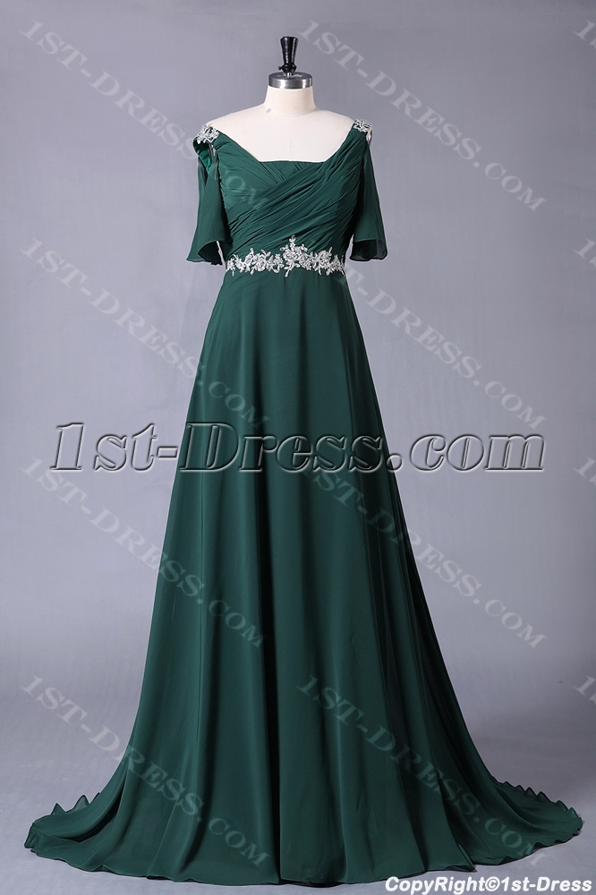 Hunter Green Chiffon Formal Plus Size Evening Dress With Sleeves1st