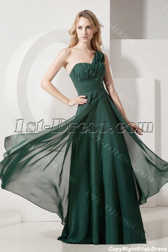 Hunter Green One Shoulder Plus Size Evening Gown:1st-dress.com