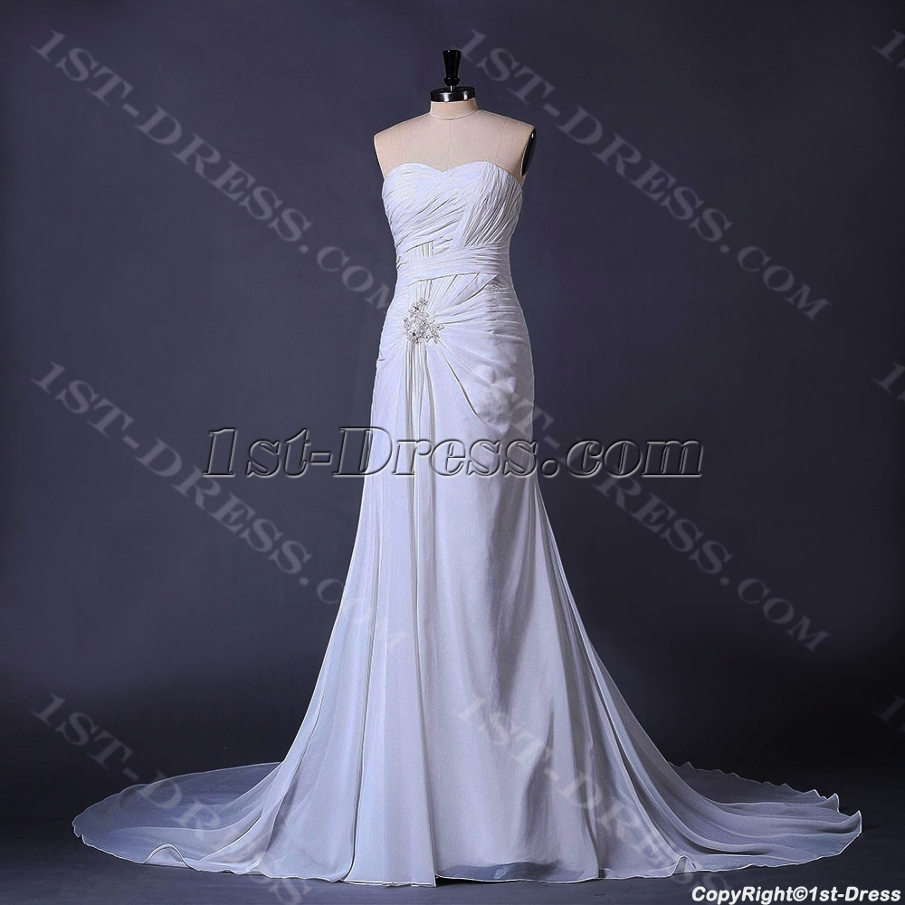 Ivory Beachy Casual Bridal Gown 1st