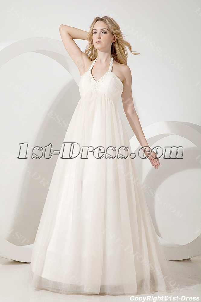 Ivory halter simple maternity bridal gown 1st for Simple wedding dress for pregnant