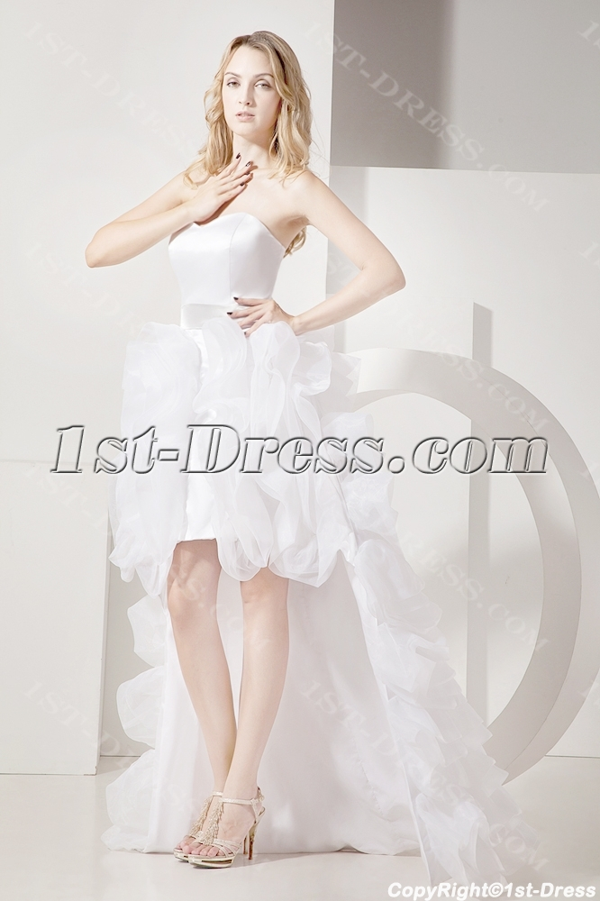 Ivory high low beach wedding dresses casual 1st for Free wedding dresses low income