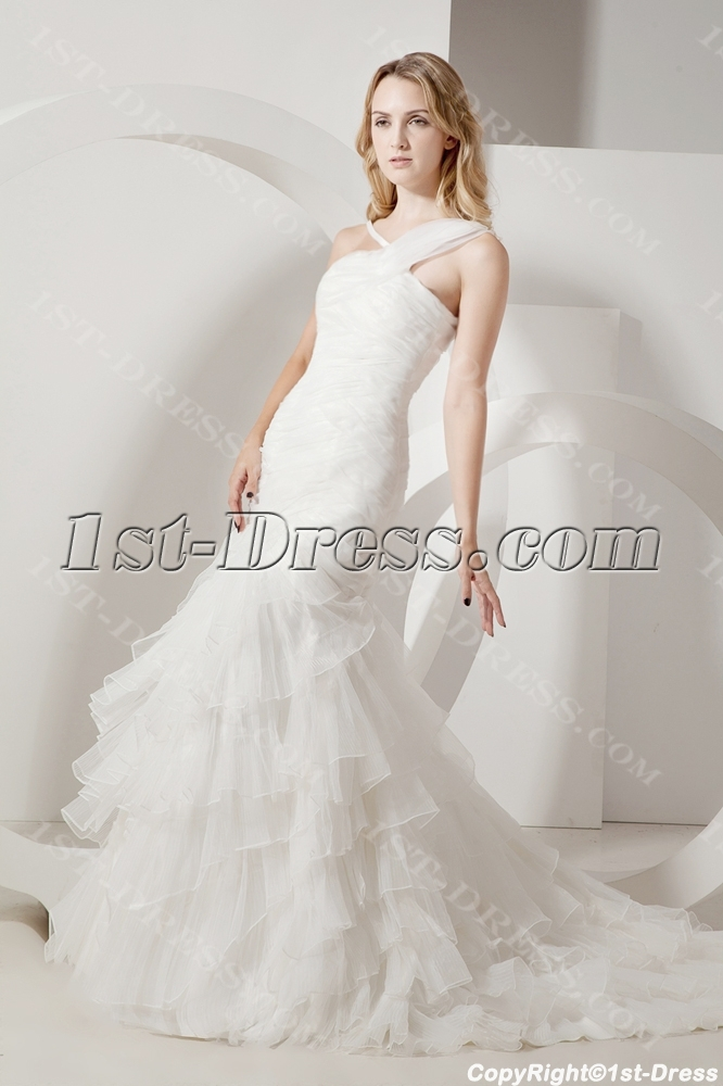 Ivory One Shoulder Mermaid Celtic Wedding Dress:1st-dress.com