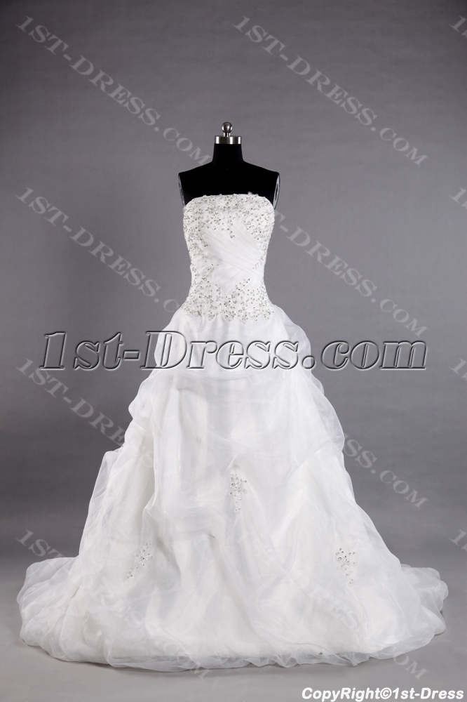 images/201307/big/Ivory-Organza-Western-Bridal-Gown-with-Strapless-2494-b-1-1375265863.jpg