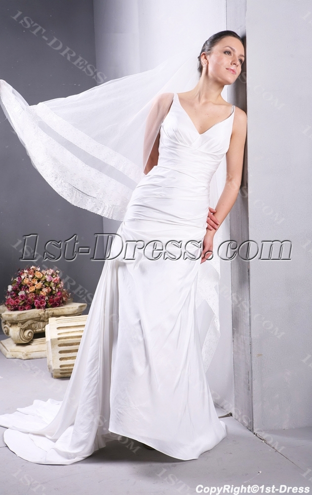 Ivory Simple Beach Flowy Wedding Dresses:1st-dress.com