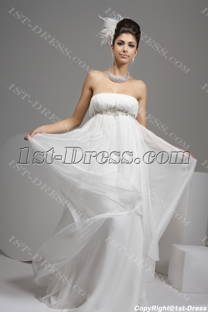 Ivory Strapless Empire Flowy Wedding Dresses
