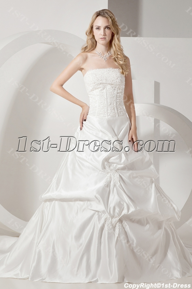 Ivory Strapless Satin Mature Bride Wedding Dresses