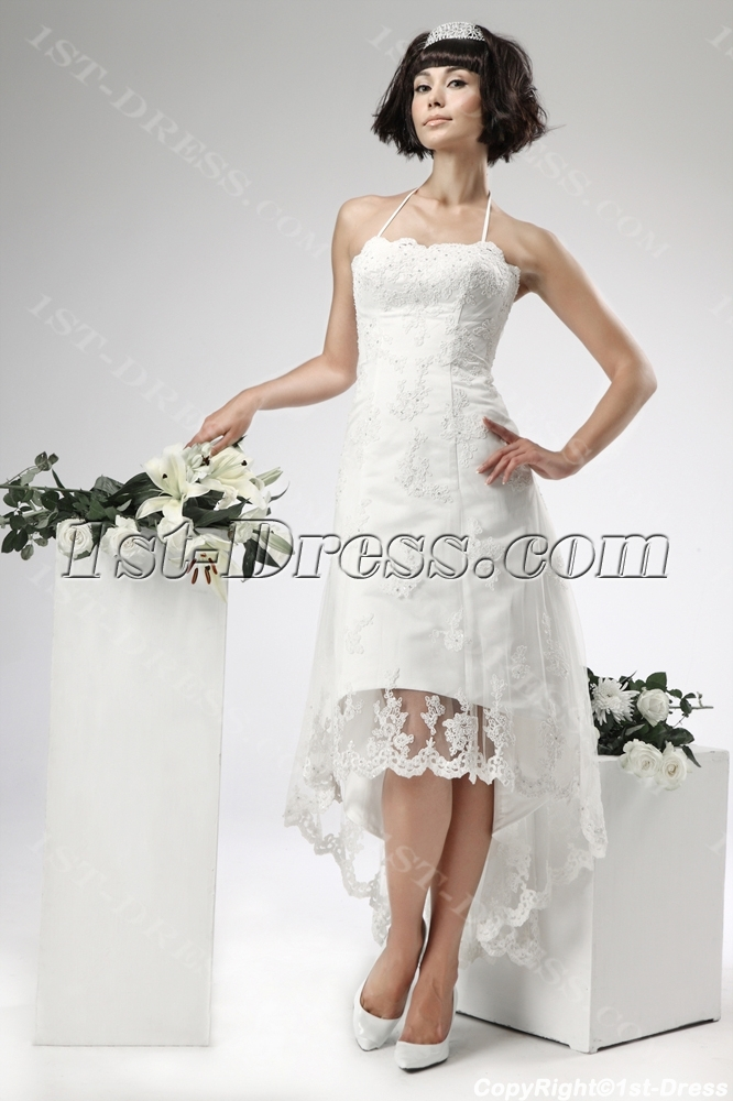 Lace High Low Civil Wedding Dresses1st Dress
