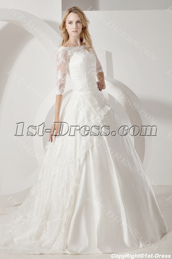 Lace Long Sleeves Modest Bridal Gown with Bateau Neckline:1st-dress.com