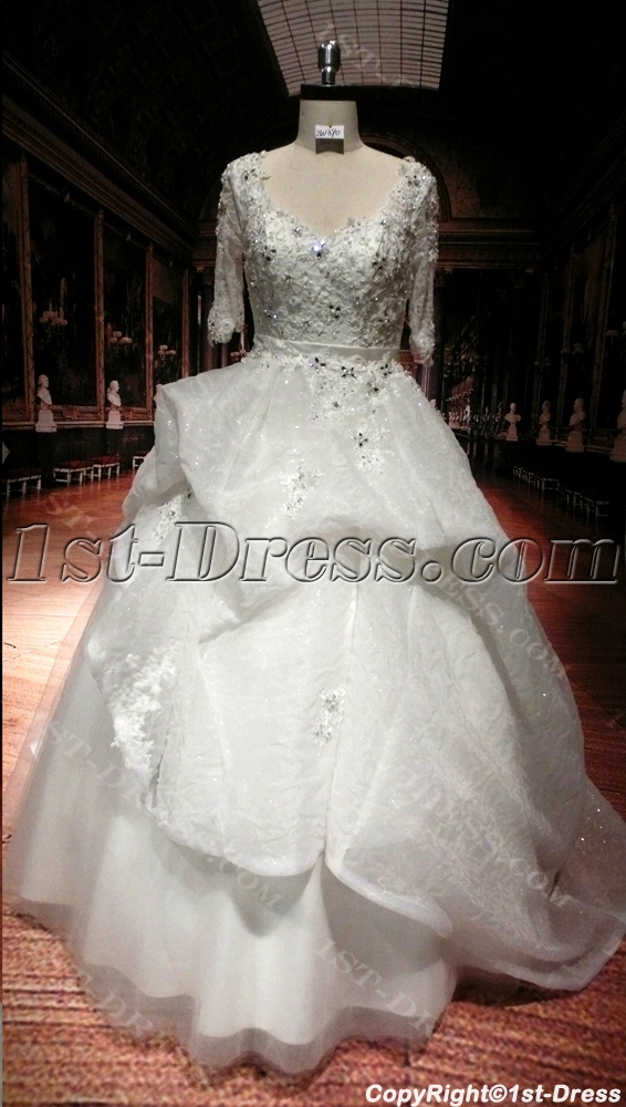 Lace luxury plus size wedding dresses with sleeves 1st for Plus size wedding dresses with color and sleeves