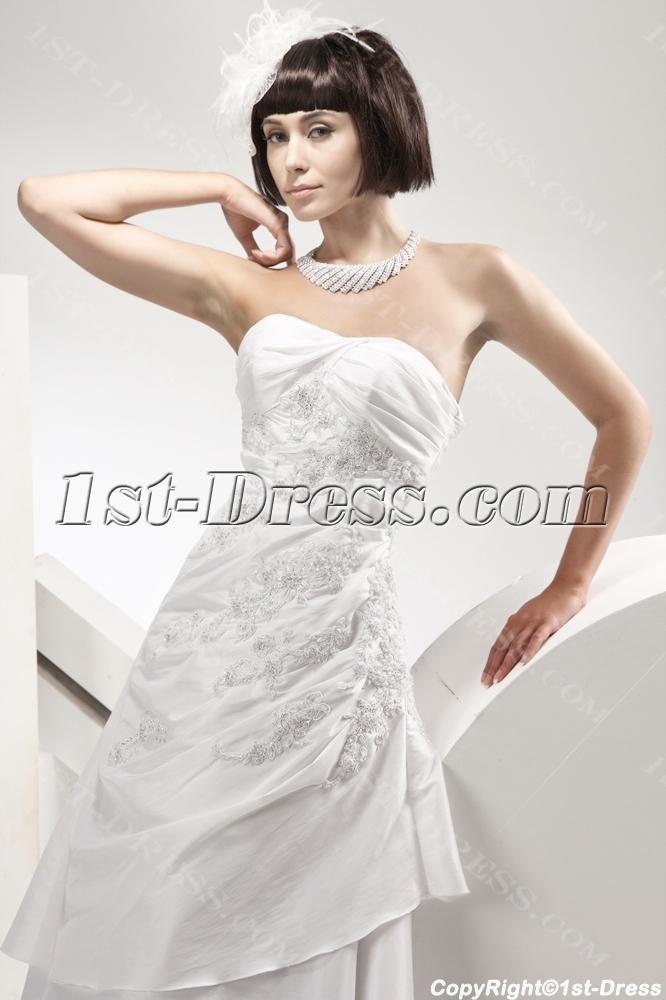 Mature Bride Destination Wedding Dresses with Lace up:1st-dress.com