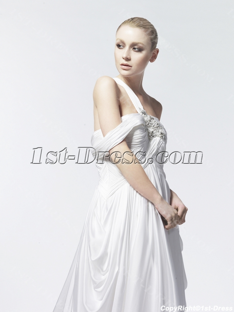 One Shoulder Chiffon Bohemian Wedding Dresses