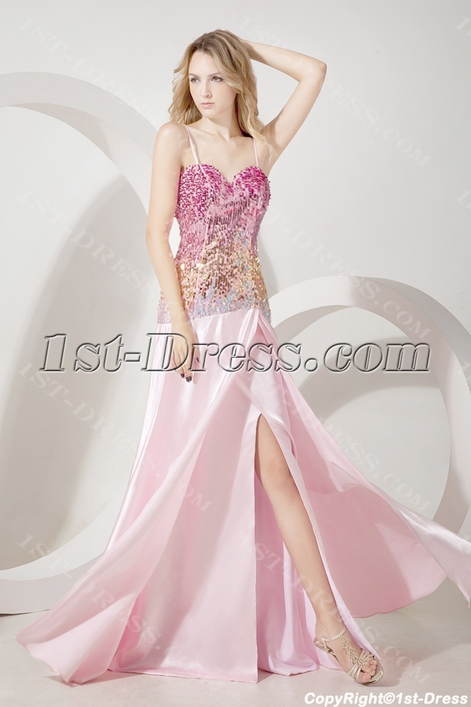Pink Colorful Sequins Sheath Evening Dress